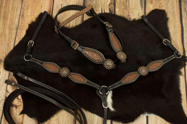Westerntrense, Set aus Kopfstück mit Vorderzeug, schwarz, braunes Inlay mit Punzierung