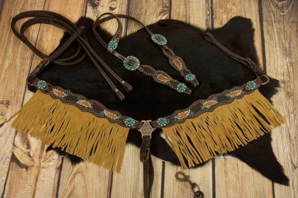 Einohr Westerntrense, Set aus Kopfstück mit Vorderzeug, dunkelbraun, feather, Federn, türkis