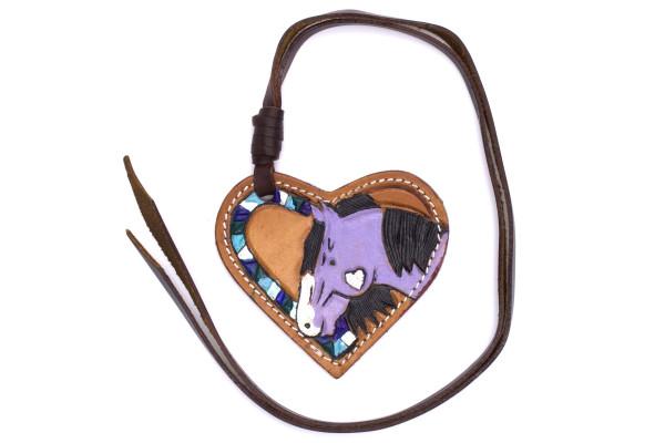 Leder Anhänger mit Pferdemotiv in Herzform, Schlüsselanhänger