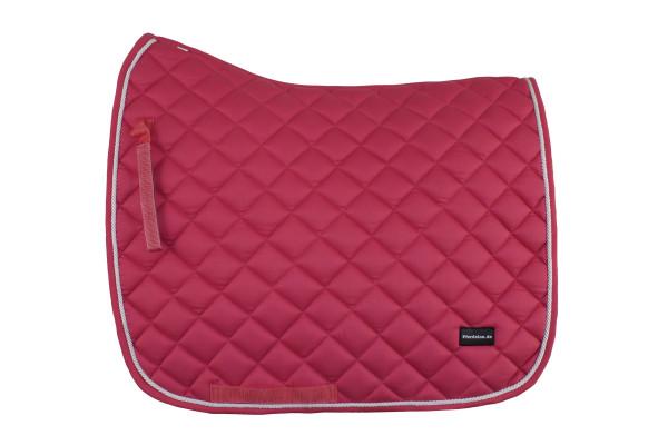 Dressurschabracke pink mit weißer Zierkordel und feiner Steppung
