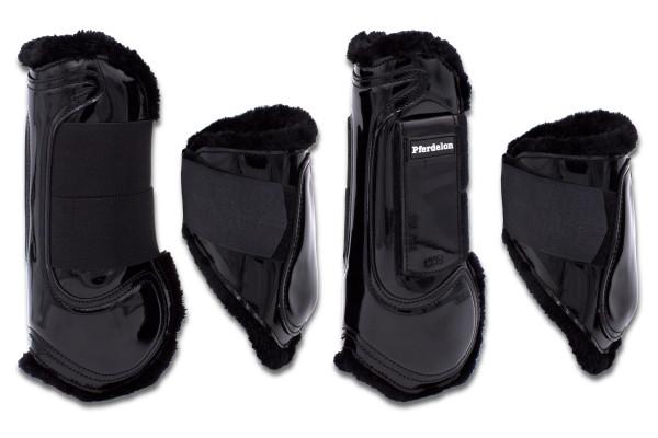 Gamaschen und Streichkappen lack schwarz, Springgamaschen 4er Set