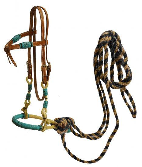 Bosal, Set mit Hanger und Pferdehaar Mecate, türkise Akzente, aus Rohhaut, geknotetes Stirnband