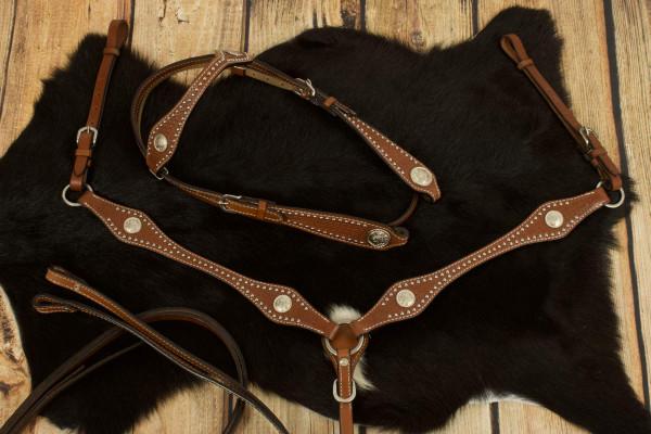 Westerntrense, Set aus Kopfstück und Vorderzeug mit silbernen Conchos und Nieten, Korbflechtmuster