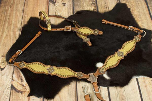 Glitzer Showtrense gold mit Vorderzeug, Set aus Vorderzeug und Westerntrense, kupferfarbene Schnalle