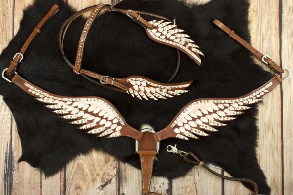 Wings Show Western-Kopfstück, Set aus Vorderzeug und Trense, weiß mit Strass, in Flügelform