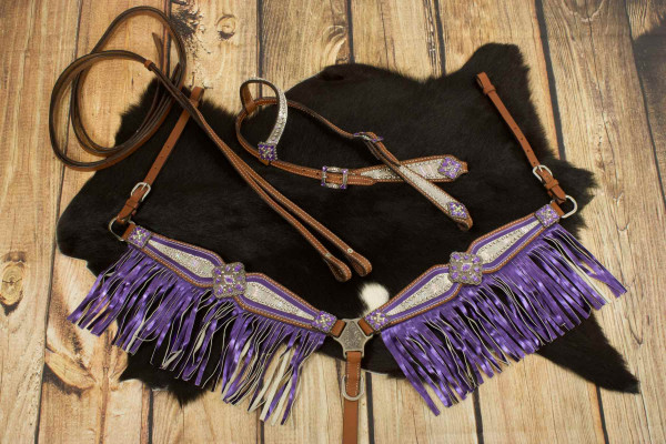 Einohr-Western-Kopfstück, Set aus Einohrtrense mit Vorderzeug und Fransen, metallic, lila