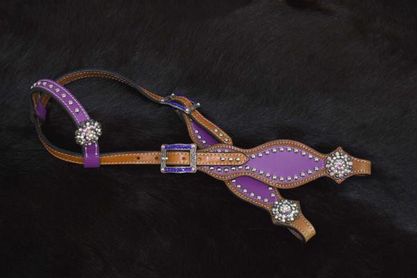 Einohr Westerntrense lila mit klaren Conchos