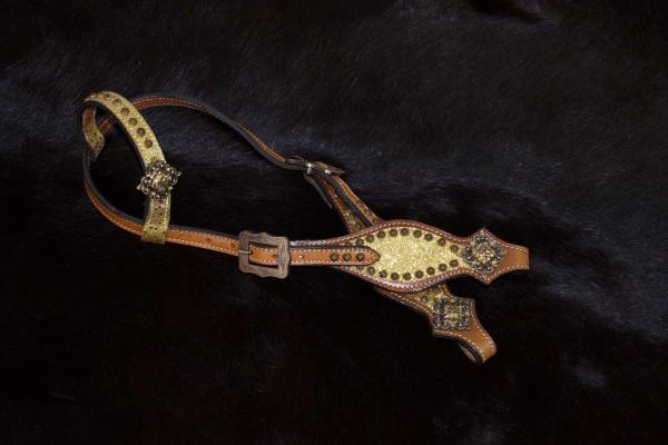 Glitzer Showtrense gold Einohr, Westerntrense mit kupferfarbenen Schnallen