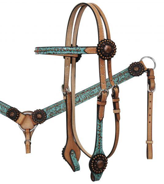Western-Kopfstück, Set aus Trense mit Western-Vorderzeug, türkises Muster, kupferfarbene Conchos