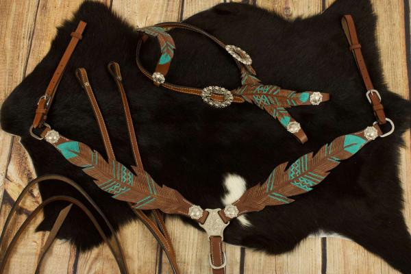 Federoptik Westerntrense, Set aus Kopfstück mit Vorderzeug, türkis, silber-Conchos