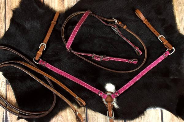 Pony Glitzer Westernset, Kopfstück und Vorderzeug, pink, Strass