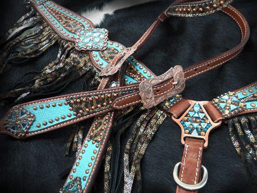 Show Einohr Western-Kopfstück, Set aus Trense mit Vorderzeug, Wildleder-Fransen, metallic, türkis
