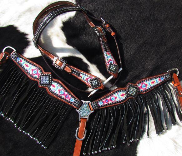 Pony Westernset, Kopfstück und Vorderzeug braun mit Fransen, pink, schwarz, Strass