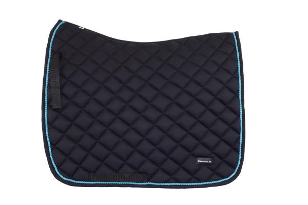 Dressurschabracke schwarz, mit blauer Zierkordel, Pferdelon