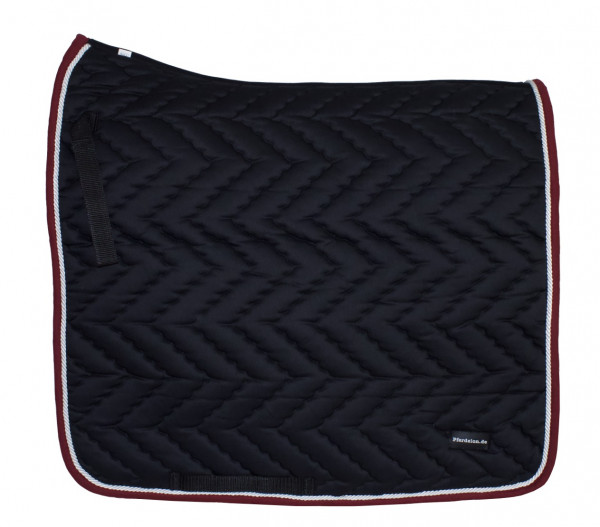 Dressurschabracke schwarz mit weißer Zierkordel und rotem Rand, Pferdelon