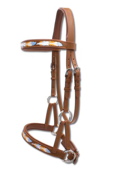 Sidepull super soft, anatomisch, braun, mit Federdesign, gebissloses reiten