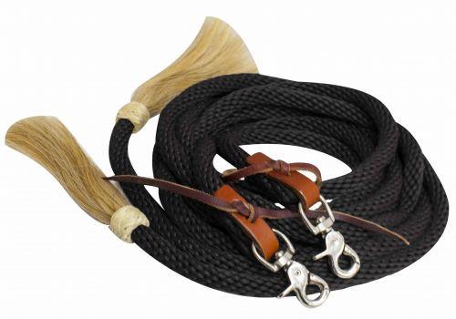 Western Nylonzügel mit Rosshaar Tasseln, schwarz
