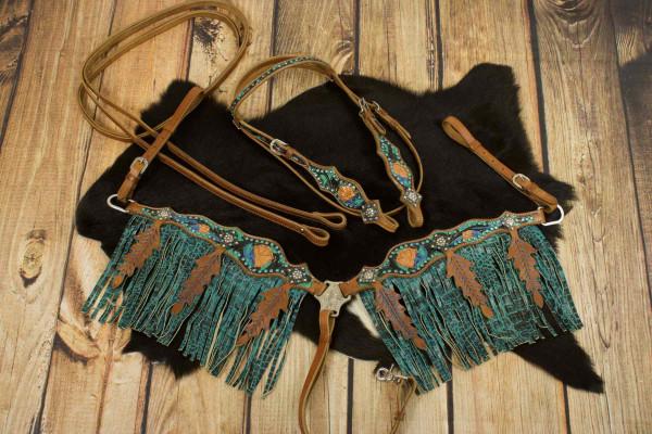 Westerntrense, Set aus Kopfstück mit Vorderzeug, braun, feather,Federn