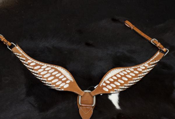 Wings Show Westernvorderzeug in Flügelform, weiß mit Strasssteinen