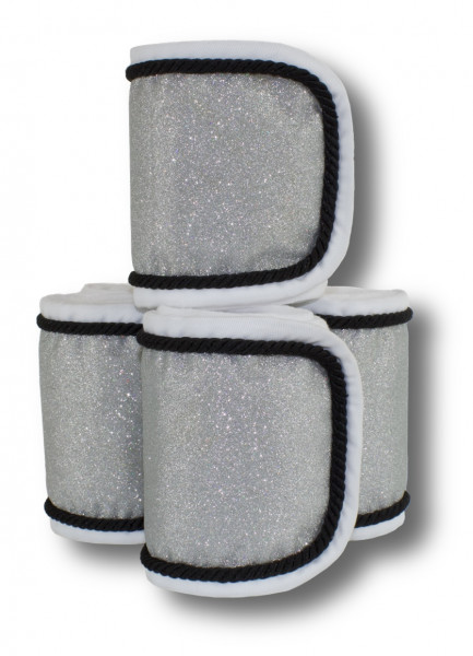 Fleecebandagen 4-er Set, weiß Glitzer