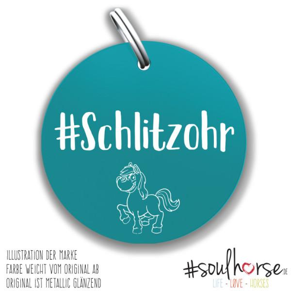 Schlitzohr Pferdemarke türkis