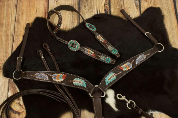 Einohr Westerntrense, Set aus Kopfstück mit Vorderzeug, dunkelbraun, feather, bunte Federn
