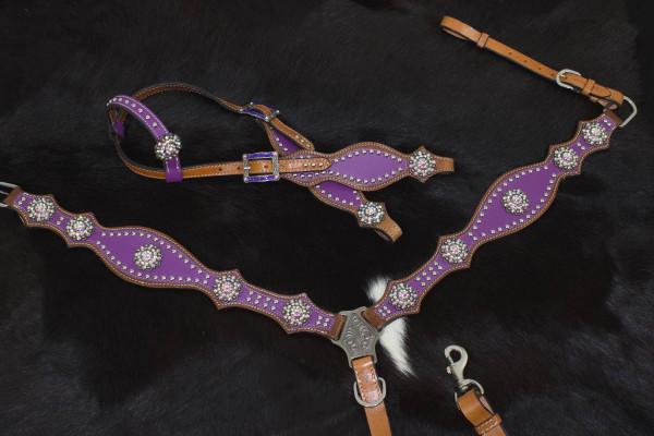 Einohr Westerntrense lila mit Vorderzeug und klaren Conchos, Set aus Vorderzeug und Westerntrense