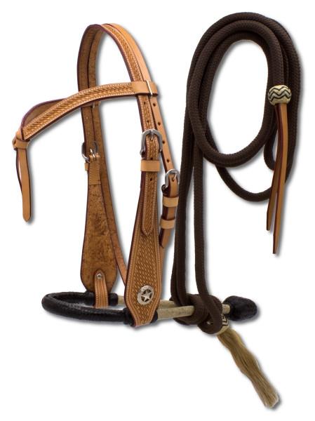 Bosal Set mit Hanger und Nylon Mecate, Bosal aus Rohhaut, schwarz-weiß, geknotetes Stirnband