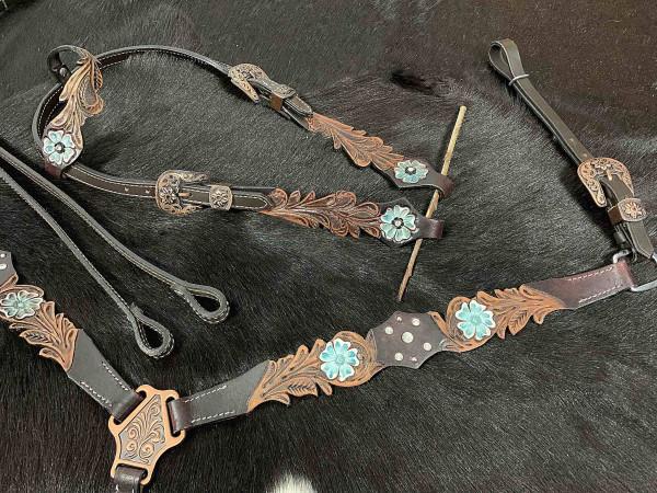 Einohr Westerntrense, Set aus Kopfstück mit Vorderzeug und Zügeln, Vintage-Look, dunkelbraun