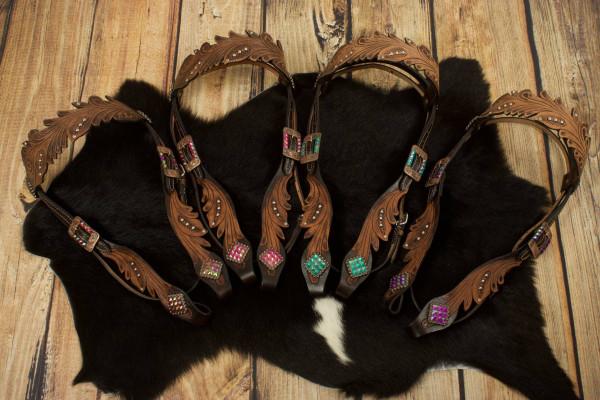 Vintage Style Westerntrense mit farbigen Strasssteinen, kupferfarbene Schnallen, Stirnriemen