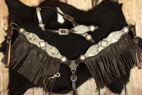 Vintage Show Western-Set Snake dunkel, Set aus Westerntrense mit Vorderzeug