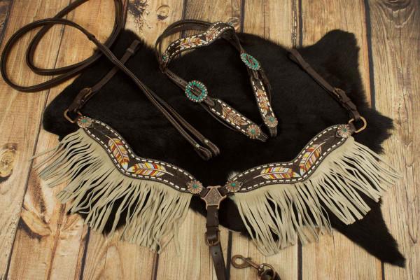 Westerntrense, Set aus Kopfstück mit Vorderzeug, dunkelbraun, feather, bunte Federn