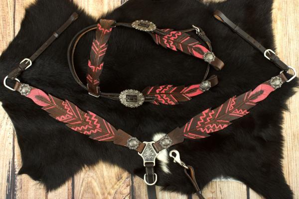 Federoptik Show Western-Set dunkel, Set aus Westerntrense mit Vorderzeug, Leder pink
