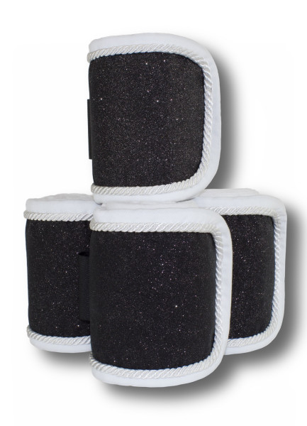 Fleecebandagen 4-er Set, schwarz Glitzer