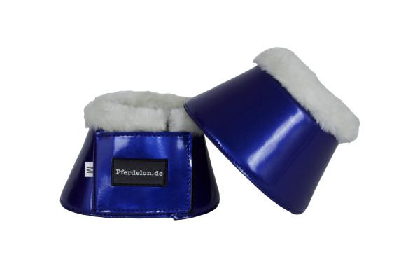 Hufglocken mit Fellrand, blau metallic, Springglocken