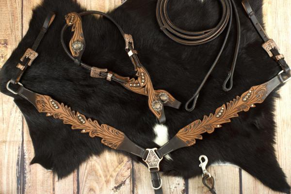 Vintage-Look Einohr Westerntrense, Set aus Kopfstück und Vorderzeug, dunkelbraun, mit Strass