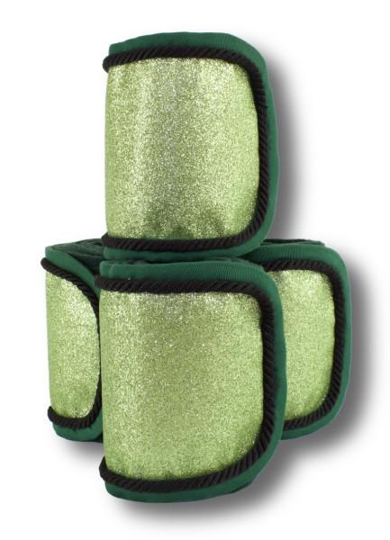 Fleecebandagen 4-er Set, grün Glitzer
