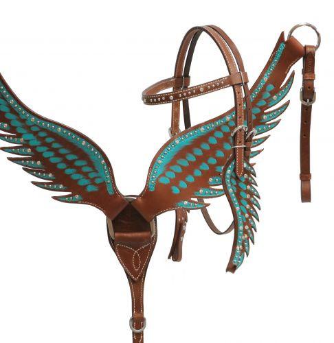 Wings Show Western-Kopfstück, Set aus Vorderzeug und Trense, türkis mit Strass, in Flügelform