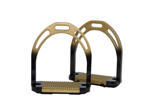 Steigbügel mit breiter Trittfläche schwarz-gold, zweifarbig