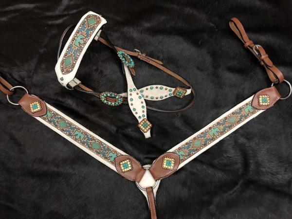 Western-Kopfstück, Set aus Trense mit Vorderzeug, weiß, türkis, Adler-Design