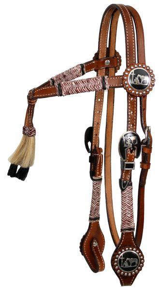 Western Show- und Arbeitszaum, Trense mit Verzierungen aus Rohhaut, Tassel, geknotetes Stirnband
