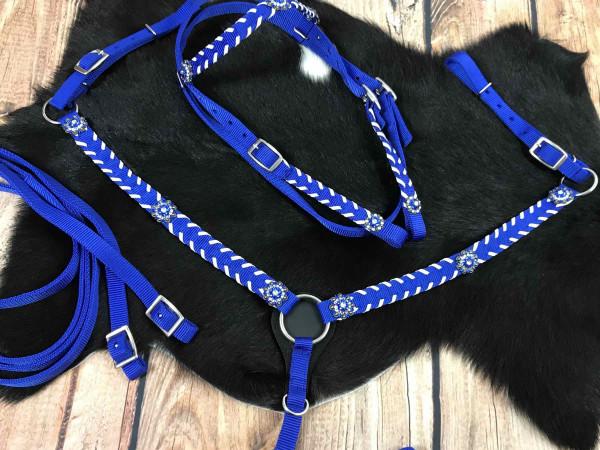 Nylon Western-Kopfstück mit passendem Vorderzeug, royalblau, mit Glitzerconchos, weiße Akzente
