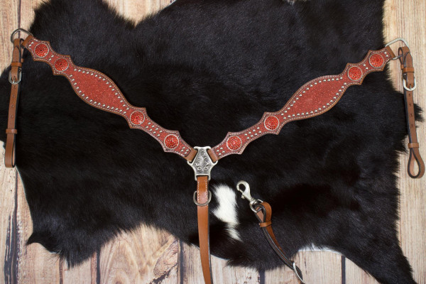 Glitzer Vorderzeug, rot, Westernvorderzeug mit Nieten und roten Conchos
