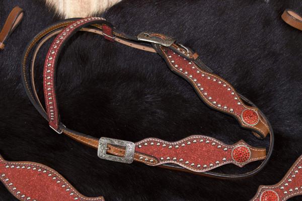 Glitzer Showtrense rot, Westerntrense mit verzierten Schnallen