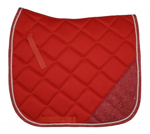 Teilglitzer Dressurschabracke rot