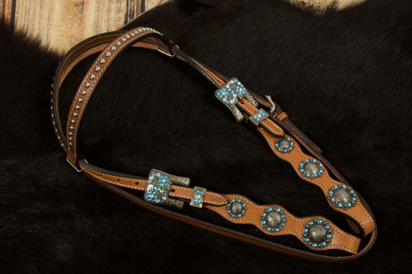 Western Kopfstück mit blauen Strassteinen und gravierten Conchos