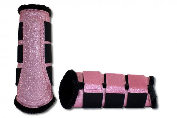 Glitzer Gamaschen, pink, Dressurgamaschen