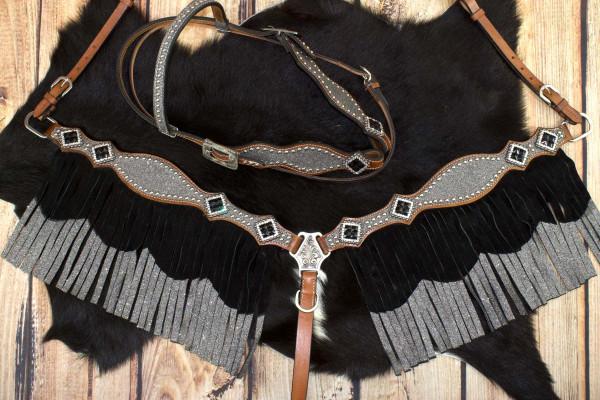 Glitzer Showtrense silber mit Vorderzeug und Fransen, Set aus Vorderzeug und Westerntrense