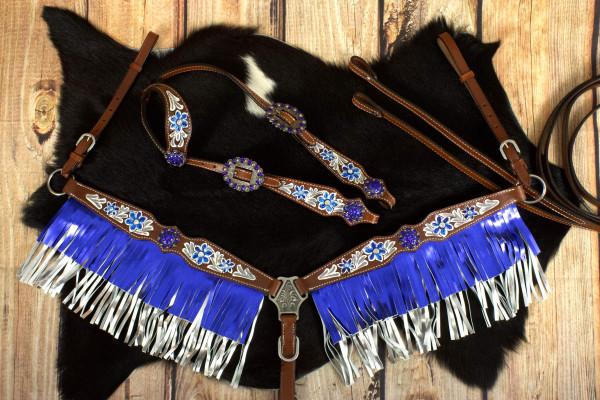 Westerntrense, Set aus Kopfstück mit Vorderzeug mit Punzierung blau, braun