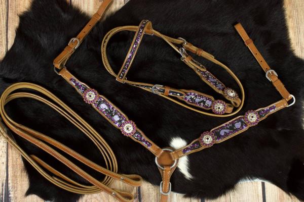 Pony Westernset, Kopfstück und Vorderzeug mit Punzierung, braun, Strass, lila